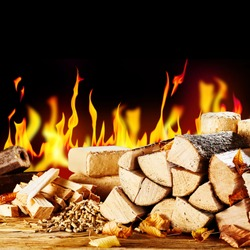 Assorted biofuels in front of a blazing fire with split logs, chopped kindling, wood pellets and bricks and logs of compressed sawdust