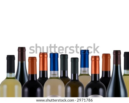 assorted bottles of wine on white background