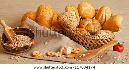 assorted bread and wheat