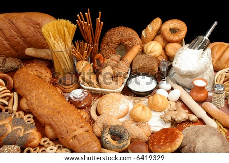 Assorted breads and ingredients, background