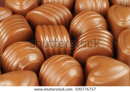 Assorted chocolate candies background