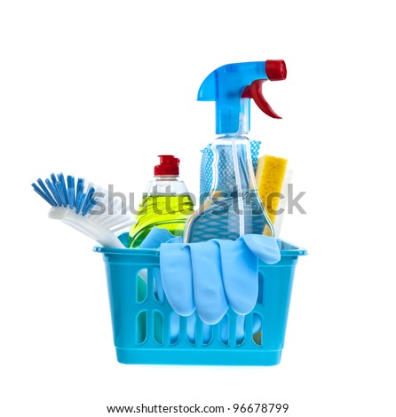 Assorted cleaning products on white background
