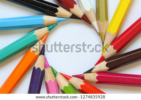 assorted color pencil,group of color pencil,Color pencil isolated on white background.Close up,Colored pencil background,macro view of color pencil