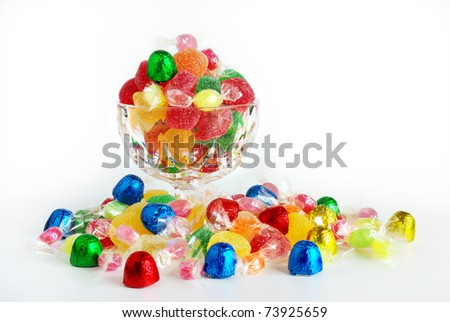 Assorted colorful bonbons and candies in plastic wraps