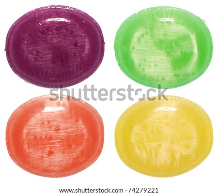 assorted colorful candies isolated in white background