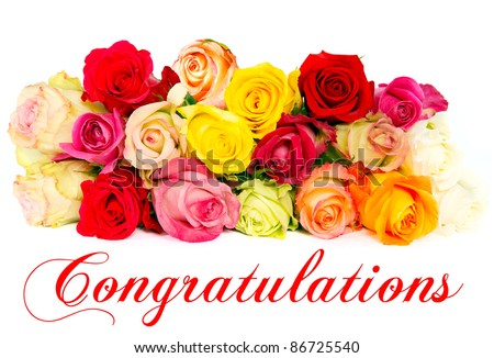 assorted colorful roses, beautiful flowers bouquet. Congratulations. card concept - stock photo