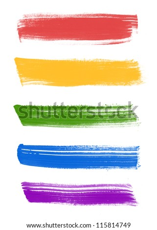 Assorted colors abstract hand painted brush strokes collection #115814749