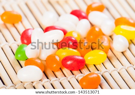 assorted colors and flavored jelly beans - stock photo