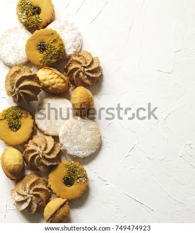 Assorted cookies: linzer cookies,shortbread, nuts cookie, orange almond cookie. #749474923