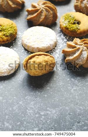 Assorted cookies: linzer cookies,shortbread, nuts cookie, orange almond cookie. #749475004
