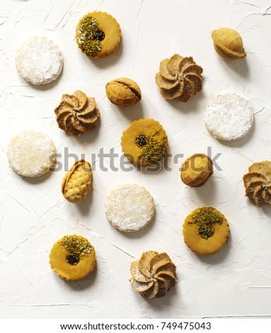 Assorted cookies: linzer cookies,shortbread, nuts cookie, orange almond cookie. #749475043
