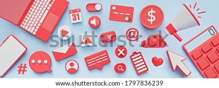 assorted 3d icons. abstract social media, technology design banner. 3d rendering ストックフォト ©