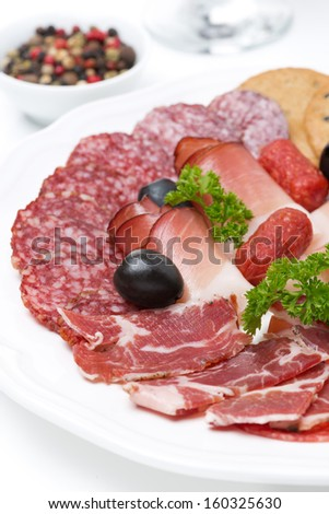 assorted deli meats on a plate, close-up, vertical