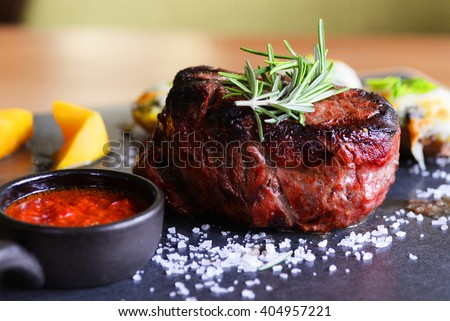 Assorted delicious grilled meat with vegetable