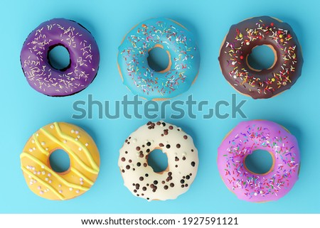 Assorted donuts with colorful icings on blue background. 3d illustration. Colorful donuts background. Various glazed doughnuts with sprinkles. ストックフォト ©