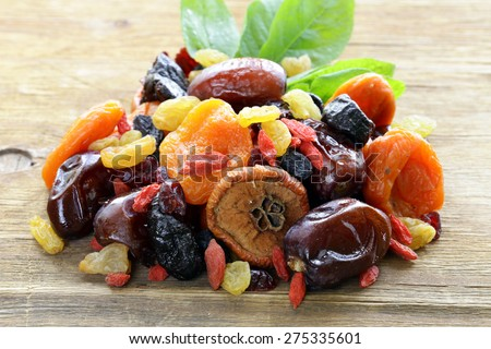 Shutterstock Assorted dried fruits (raisins, apricots, figs, prunes, goji, cranberries) on a wooden background