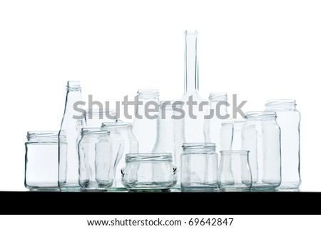 Assorted empty glass jars and bottles various shapes and for Window shapes and sizes