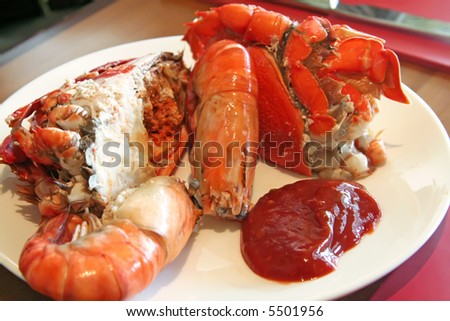 Assorted fresh cooked seafood prawns and crabs - stock photo
