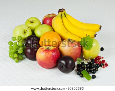 Assorted fresh fruit on pale checkered table cloth