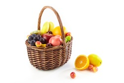 assorted fresh fruits in a basket isolated on white background, with copy space.
