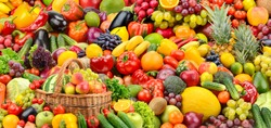 Assorted fresh ripe fruits and vegetables. Food concept background. Top view.