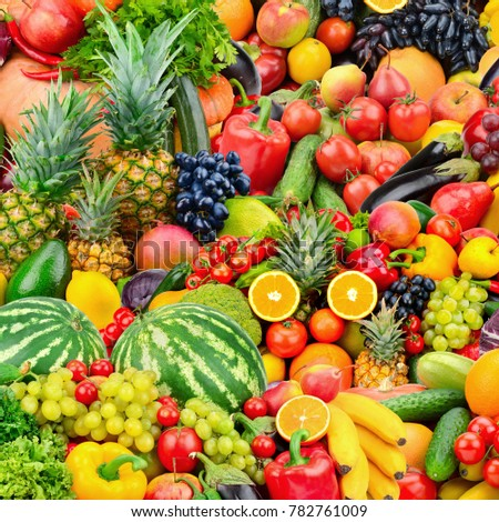 Assorted fresh ripe fruits and vegetables. Food concept background. Top view. Copy space. - Shutterstock ID 782761009