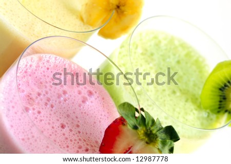 Assorted fruit and berry smoothies close up