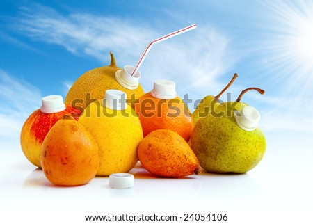 Assorted fruits as juice containers ready to drink with a straw