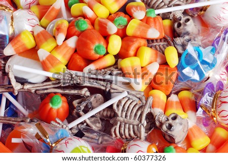 assorted Halloween candy and toys