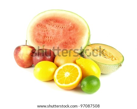 Assorted halved tropical fruits