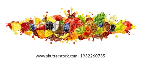 Assorted healthy fresh fruits, berries colorful mix. Creative wide layout collage of forest fruits group, citrus, berries set, exotic tropical fruits assortment, mixed juice blend 3D splashes isolated