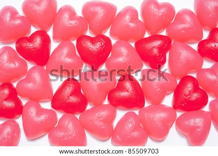 Assorted heart shaped jelly candy on white