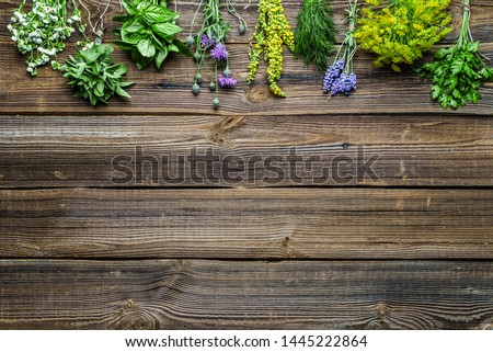 Assorted herbs from the garden on wooden table. Fresh herb on wood. #1445222864