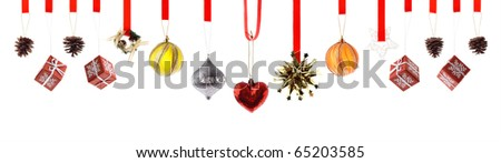 Assorted high resolution Christmas decorations and ornaments isolated on white