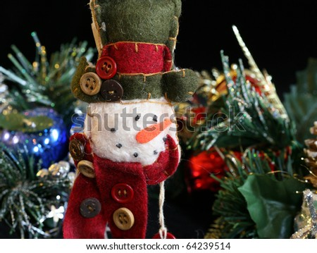 Assorted holiday festive decorations of various types