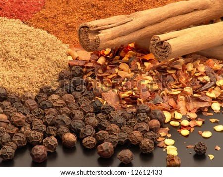 Assorted hot spices including whole peppercorns, chopped chilli, cinnamon sticks and ground spices.