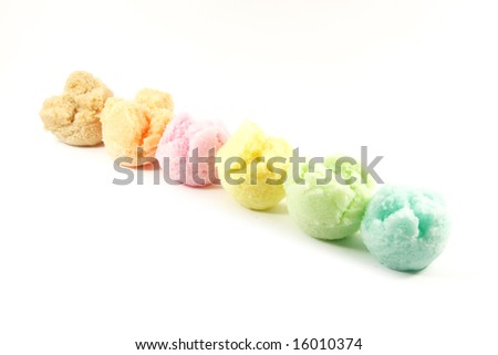 Assorted Ice Cream Flavors Isolated on a White Background - stock photo
