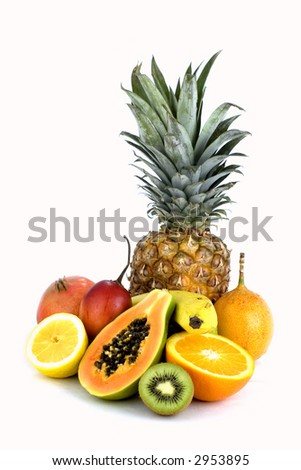 Assorted isolated fruit against white background