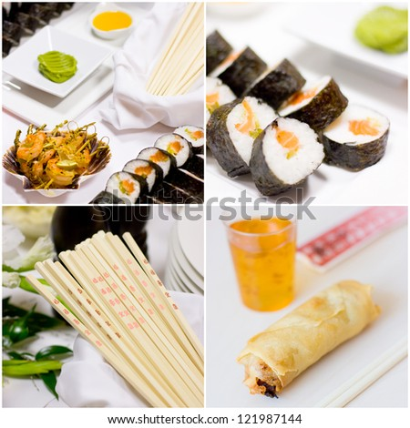 Assorted Japanese food collage, sushi on white tray, roll, chopstick