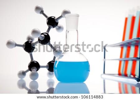 Assorted laboratory glassware , experiment