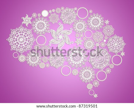 Assorted lace forming a human brain,3d rendering concept for a female