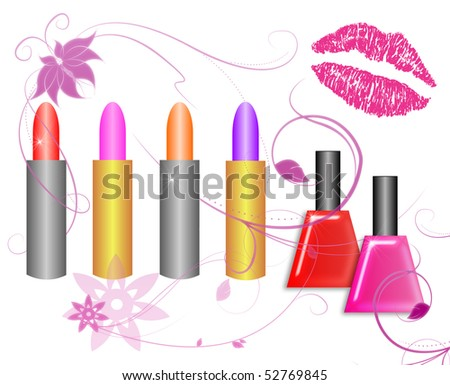 stock-photo-assorted-lipsticks-and-nail-polish-with-pink-lip-print-isolated-on-white-52769845.jpg