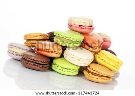 assorted Macaroons isolated in white background