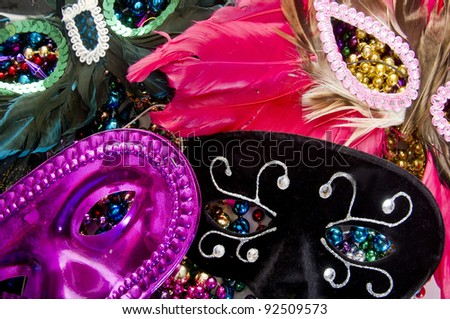 Assorted masks on beads