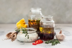 Assorted Meat Marinades: Buttermilk, Red Wine and Spiced Moroccan Style, copy space for your text