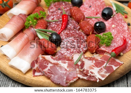 Assorted meats and sausages, olives and spices, close-up, horizontal