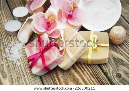 assorted natural soaps on a...
