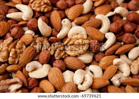 Assorted nuts (almonds, filberts, walnuts, cashews), close-up