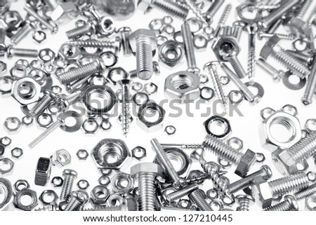 Assorted nuts, bolts and screws closeup