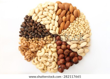 Assorted nuts in the form of a circle (peanuts, almonds, hazelnuts, pine nuts, cashews, walnuts, pistachio) on a white background